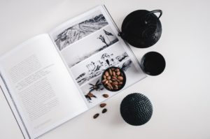 magazine, almonds, tea lifestyle photo for immune support blog post