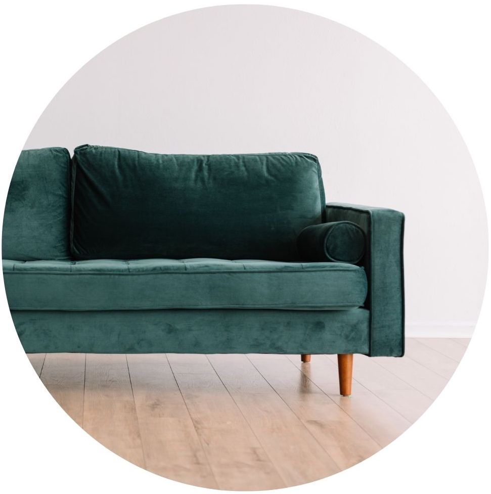 naturopathic services in person consult image with green velvet couch