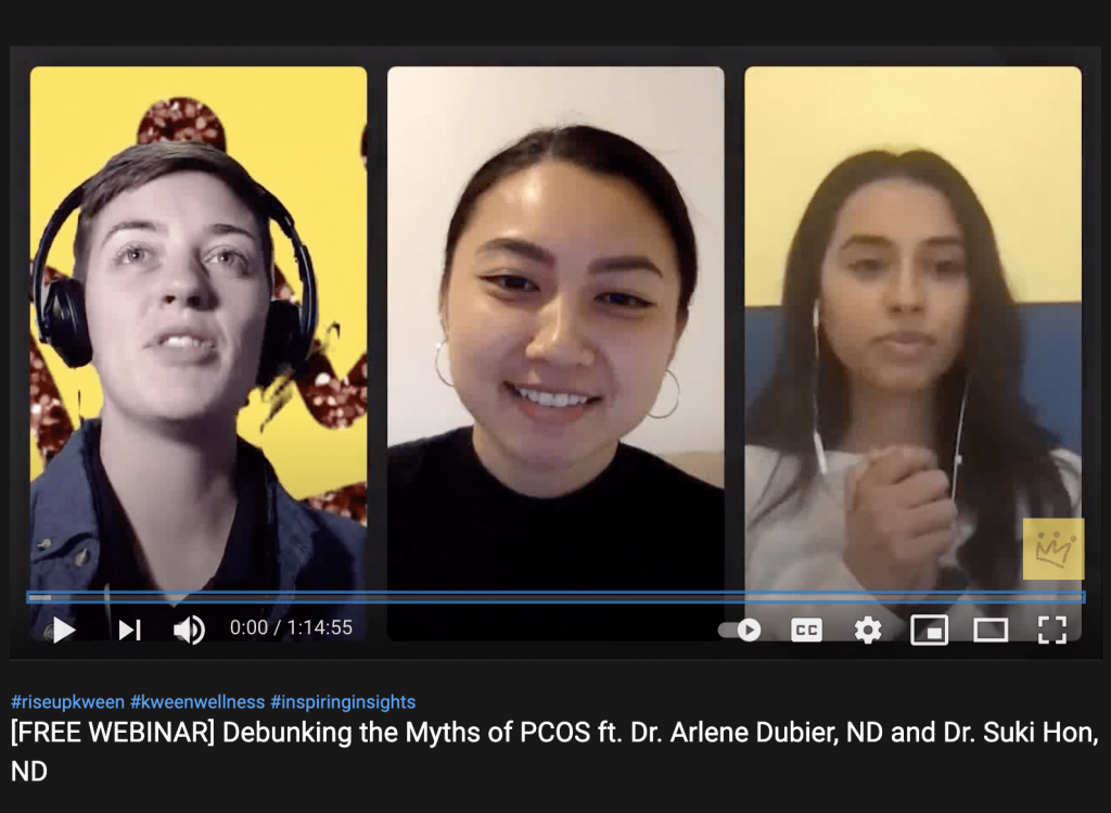 youtube video with erin edwards, dr. suki hon naturopath and dr. arlene dubier panel for debunking pcos myths talk